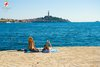 Rovinj Beach Porton Biondi girls sunbathing