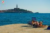 Rovinj Beach Porton Biondi view on town
